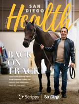 The cover of the March issue of San Diego Health magazine shows jockey and Scripps patient, Victor Espinoza.