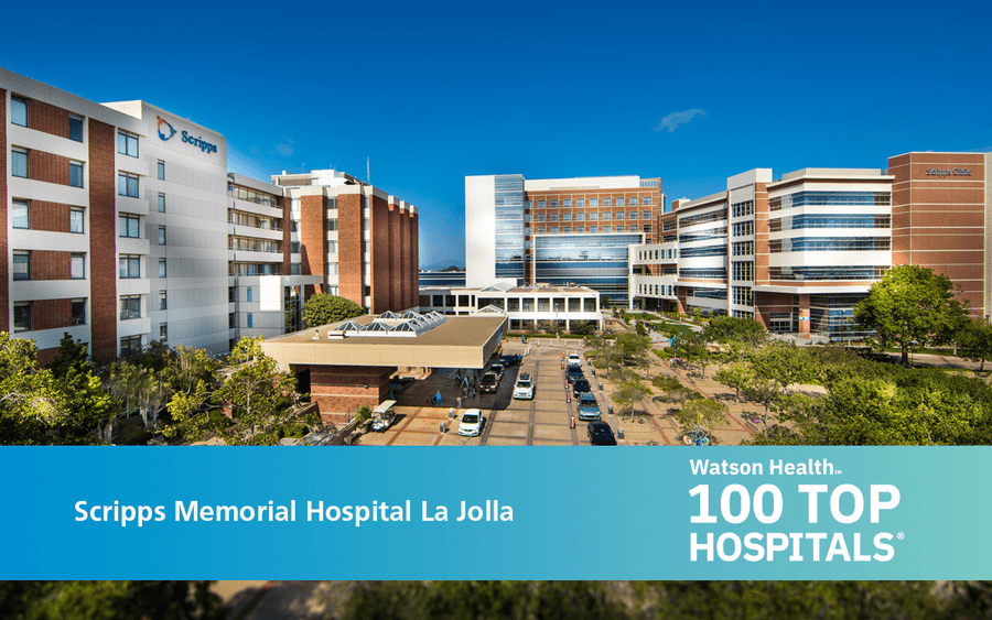 Scripps Memorial Hospital with Top 100 Hospitals banner.