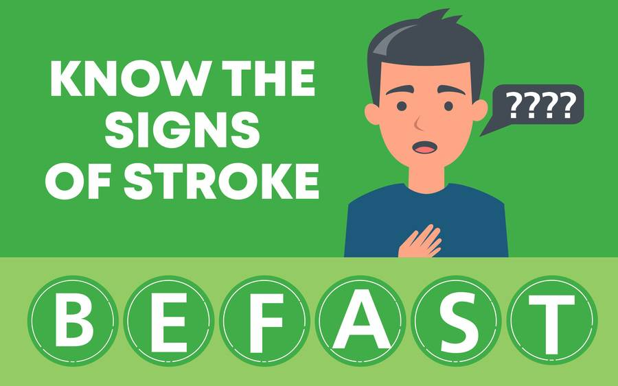 BE FAST stroke acronym for what to do when stroke symptoms occur.