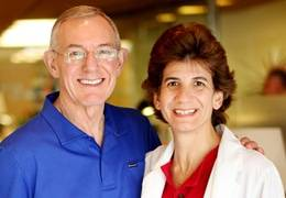 Bruce Buttermore (left) is thriving after robotic surgery to remove his prostate, which was performed by Dr. Carol Salem of Scripps.