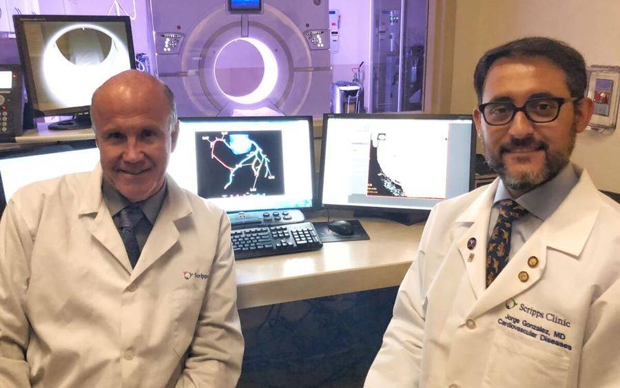 left to right George Wesby, M.D., Scripps cardiovascular radiologist, and Jorge Gonzalez, MD, Scripps cardiologist