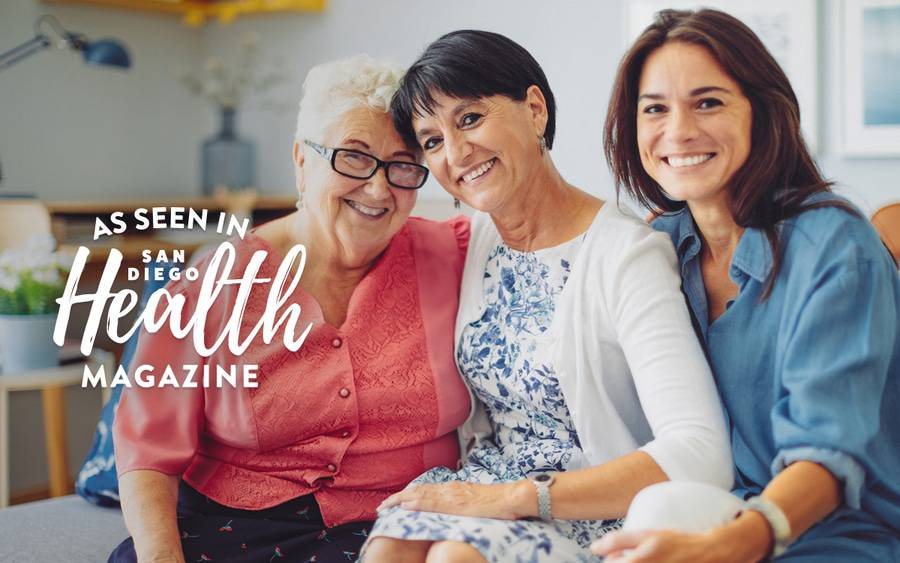 Three generations of women represent sitting together