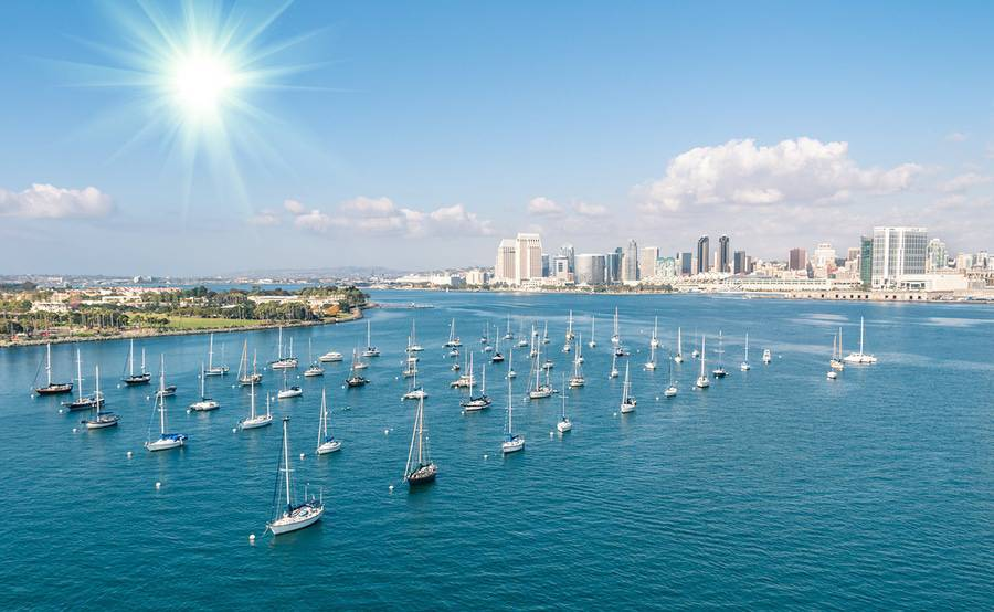 A birds-eye view of downtown and the bay, the backdrop for many continuing medical education conferences held in San Diego.