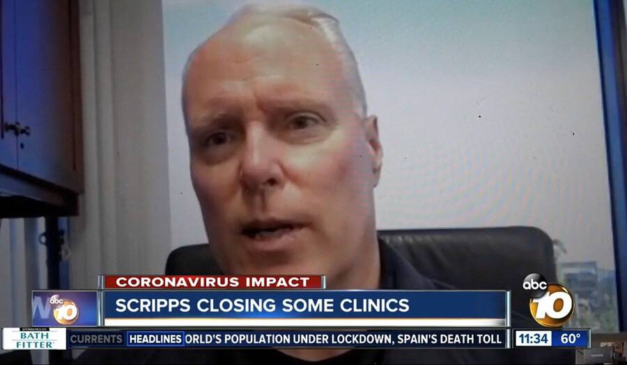 Scripps Health President and CEO, Chris Van Gorder talking to KUSI.