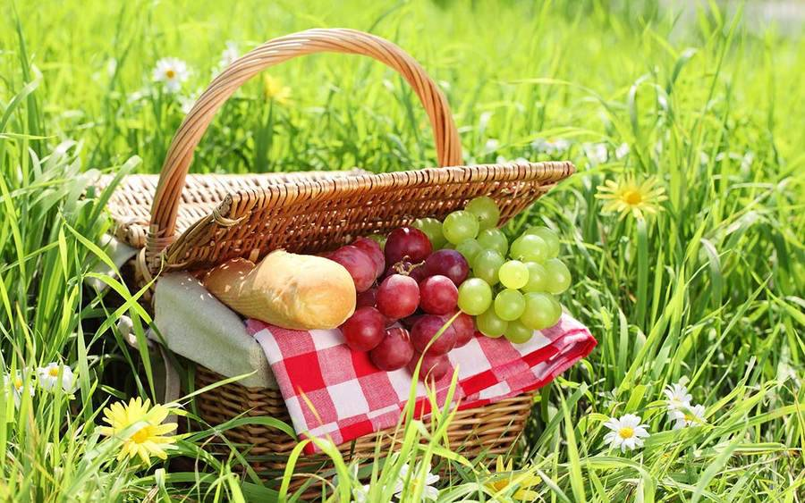 A picnic basket with bread and fruit.
