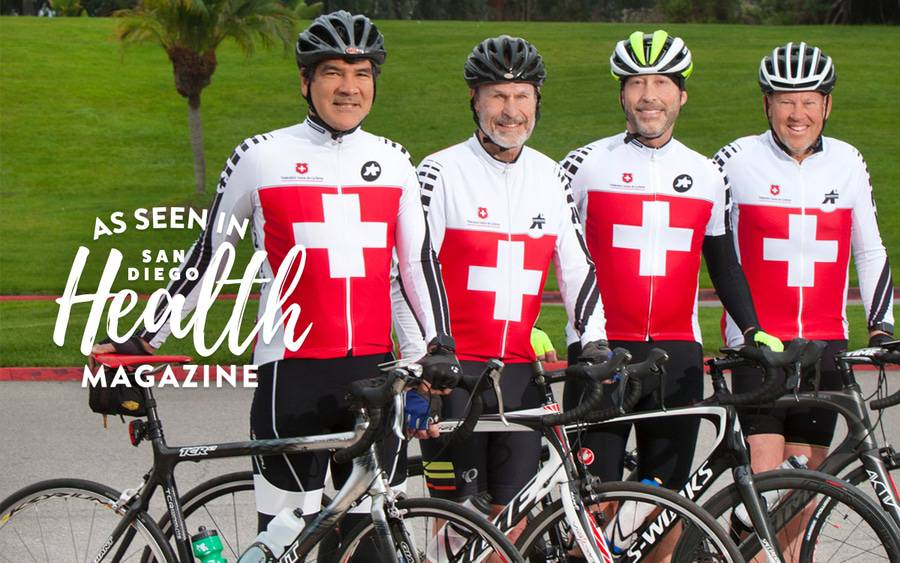 These four Scripps physicians in matching cycling gear have traveled tens of thousands of miles during weekly rides as members of a decades-old cycling group.
