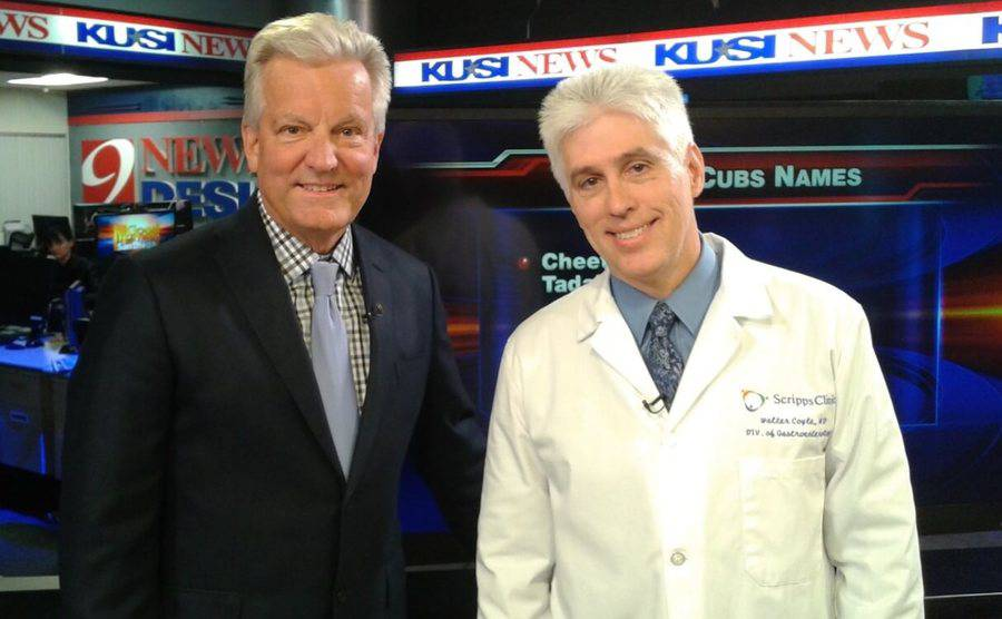 Scripps MD, Walter Coyle, discusses the importance of colorectal cancer screening with a San Diego news anchor.