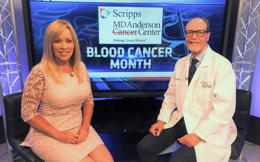 KUSI anchor Ginger Jeffries and Dr. James Mason, a hematologist and oncologist at Scripps MD Anderson Cancer Center.