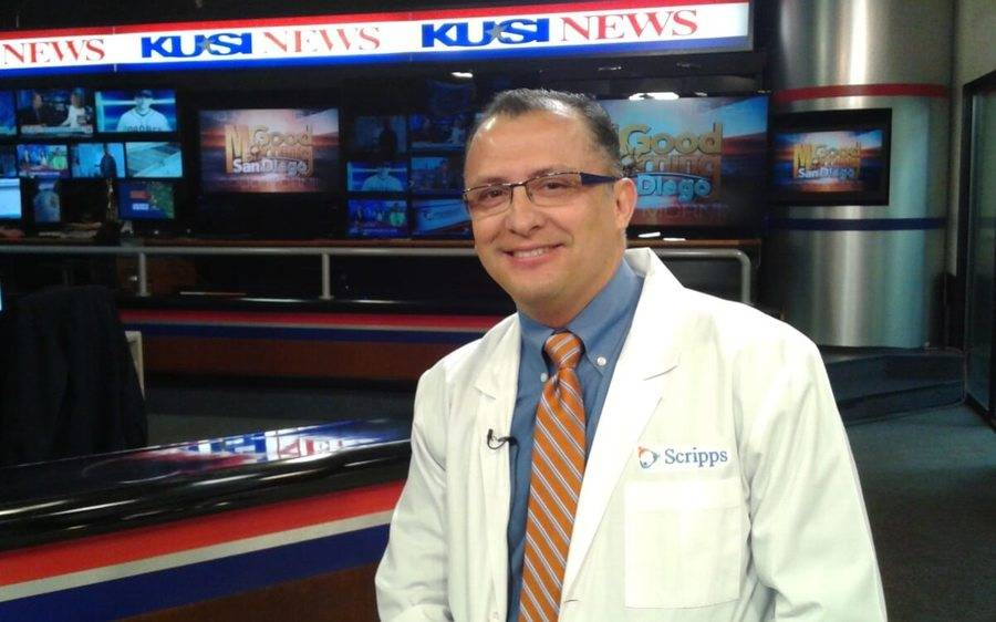 Patrick Linson, MD, attends a KUSI interview to discuss new form of radiation therapy.