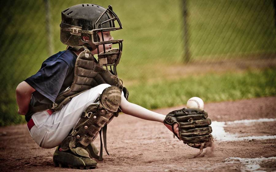 A young baseball player crouches at home plate with a catcher's mitt and face mask.