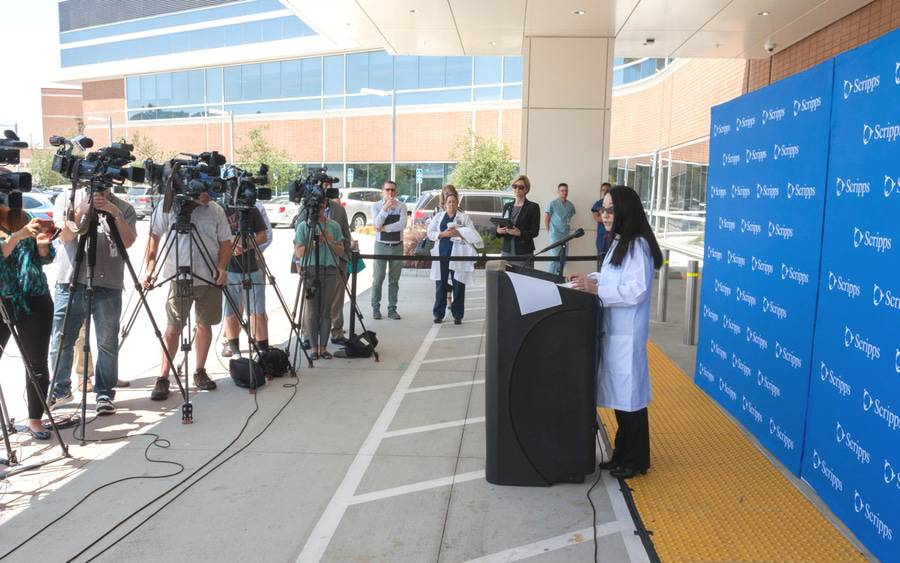 Press conference outside of Emergency Department at Scripps Memorial Hospital La Jolla.
