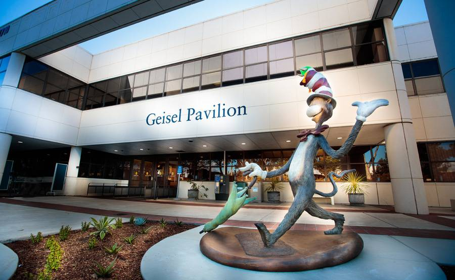 A Cat and the Hat sculpture marks the entrance to the Geisel Pavilion and Scripps Clinic Torrey Pines.