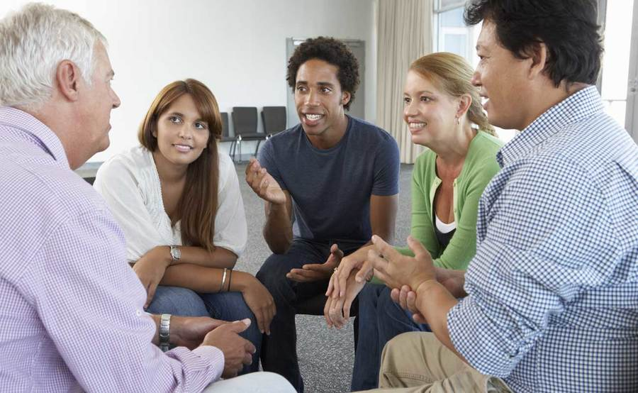 Group therapy session as part of a Scripps addiction treatment program.