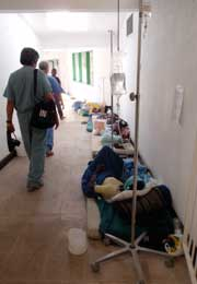 Hospital hallway in Haiti.