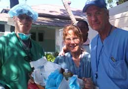 Scripps CEO, nurse and Dr. Eastman caring for patients in Haiti.