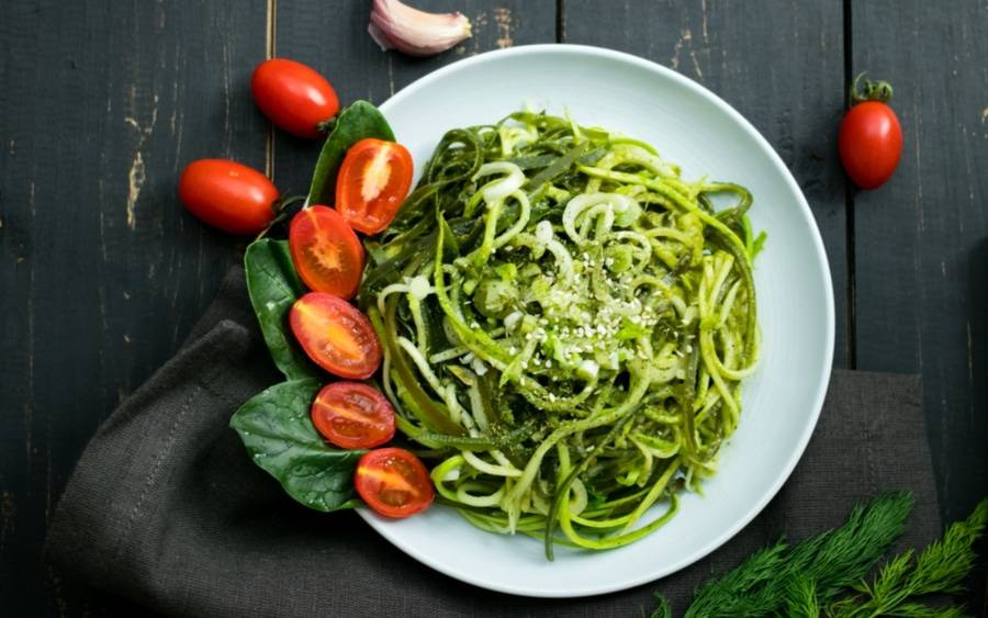 Healthy dish featuring zucchini noodles