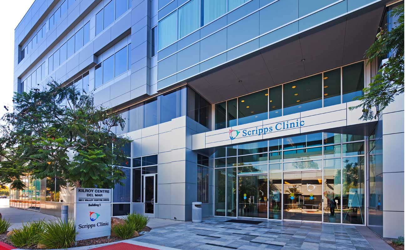 The exterior of Scripps Clinic Carmel Valley near Highway 56 and Carmel Creek Road, home to an accredited ambulatory surgery center.