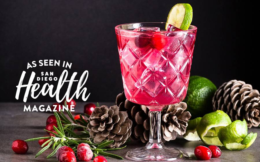 This eye-catching pink drink made with cranberry juice and seltzer water is a delicious, non-alcoholic alternative to traditional holiday cocktails.