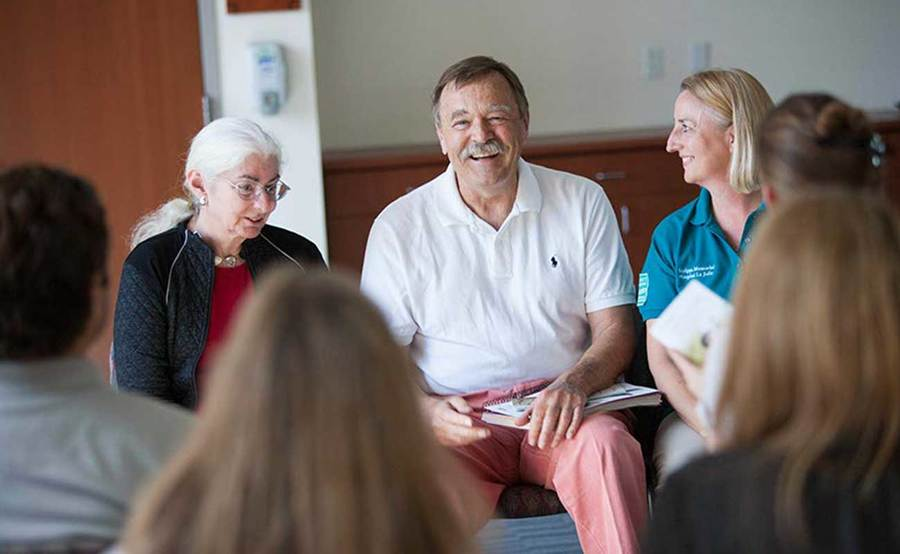 Jim Bischoff leads a support group with other patients within the Scripps LVAD Ambassador Program.