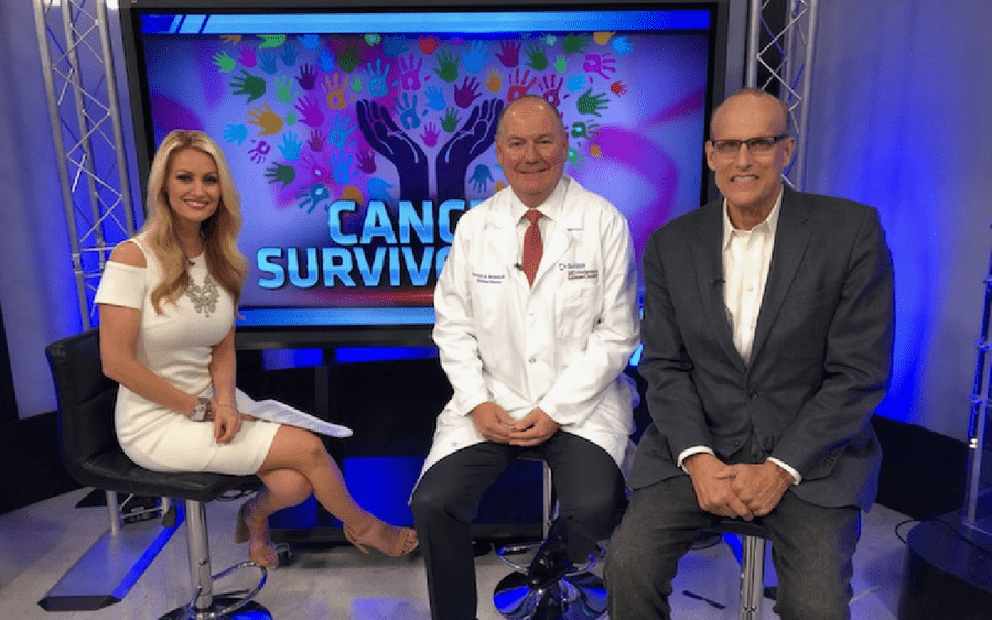 KUSI anchor Lauren Phinney, Thomas Buchholz, MD, Scripps MD Anderson Cancer Center, Craig Jacobsen, cancer survivor.