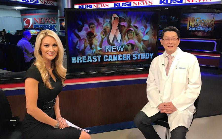 Ray Lin, MD, (right) and KUSI anchor Lauren Phinney.