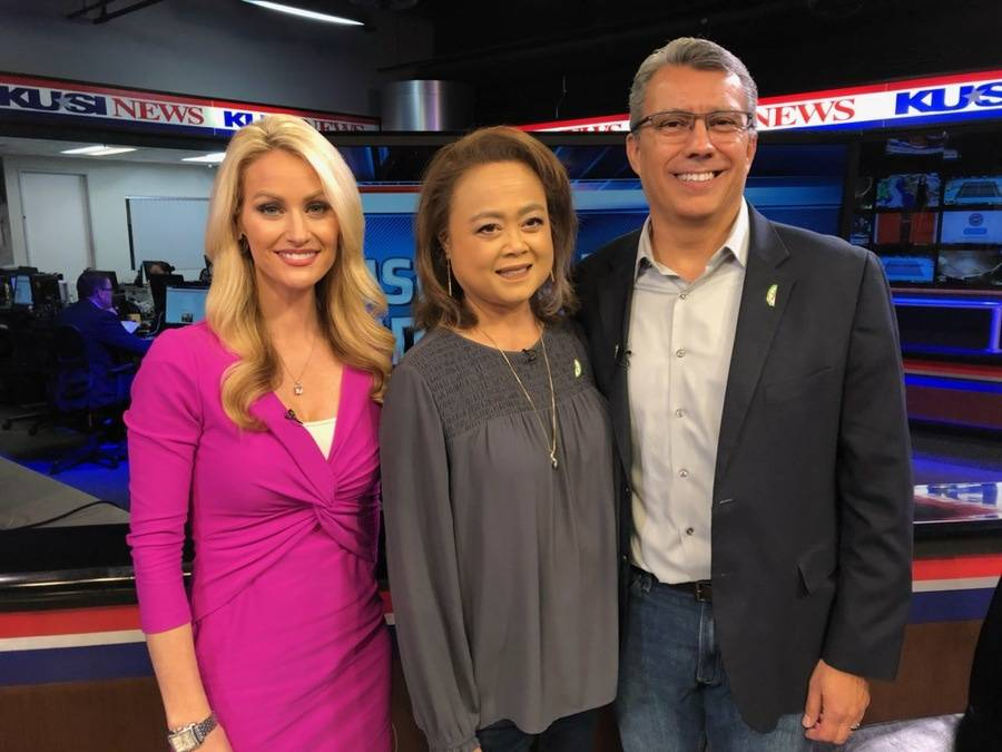 KUSI host Lauren Phinney, and husband and wife, Annabelle and Robert Villarreal of Chula Vista on KUSI news studio.