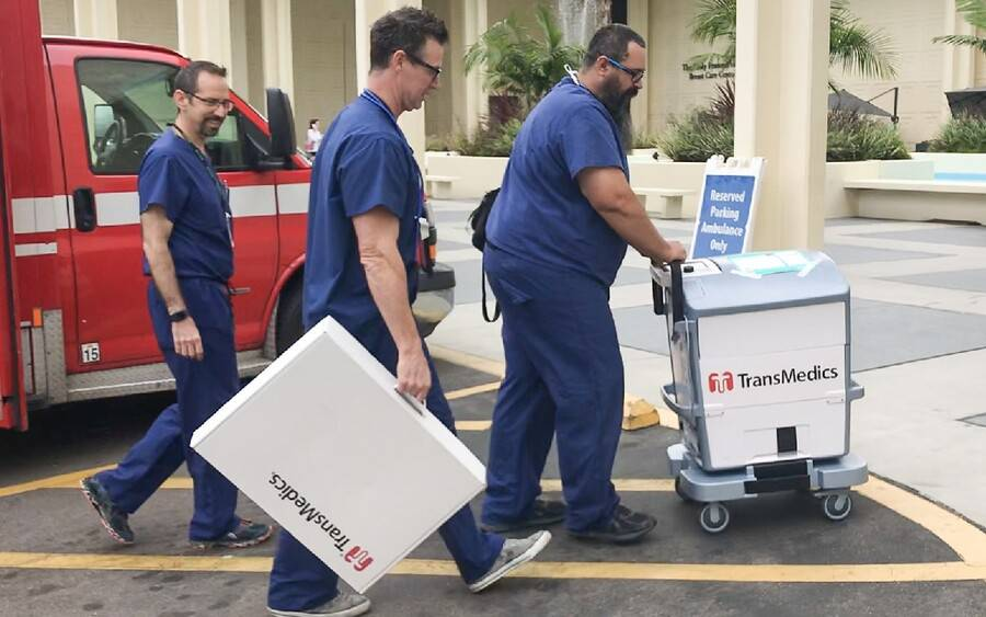 Medical personnel transport liver for transplant to Scripps Green.