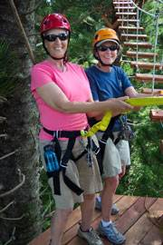 Marian and Holly on a zip-line tour in Kauai less than three months after the organ transplantation procedure.