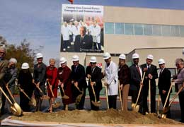 Conrad Prebys (center) is joined by hospital staff and supporters at the Feb. 1 groundbreaking of the Conrad Prebys Emergency and Trauma Center.