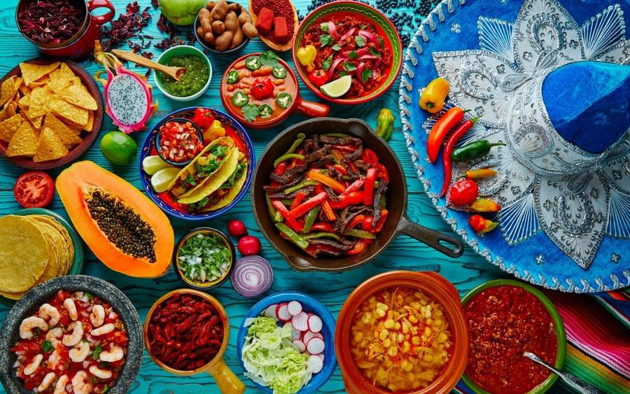 Colorful and spicy ingredients for healthy Mexican dishes.
