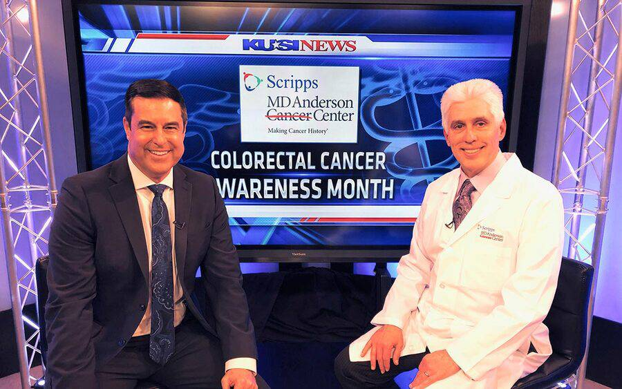 A Scripps physician discusses Colorectal Cancer Awareness Month with a San Diego news anchor.