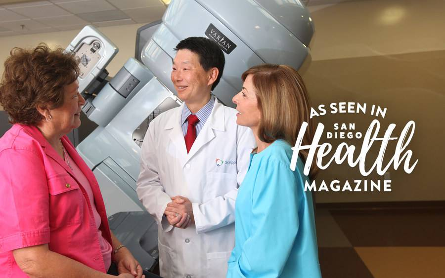 Breast cancer patients discussing radiation therapy with Ray Lin, MD, radiation oncologist.
