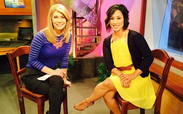 From left, San Diego 6 anchor Heather Myers and Scripps cancer survivor Michelle Fernandez