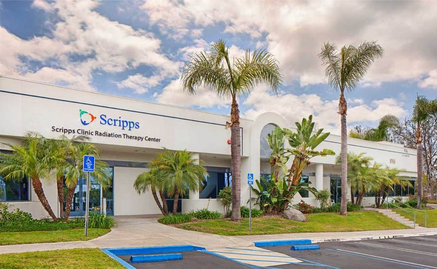 The exterior of Scripps Clinic Radiation Therapy Center in Vista, a radiation therapy center located just off of I-78 on Sycamore Avenue.