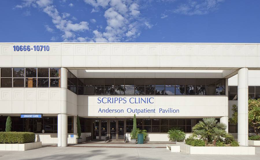 The exterior of Scripps Clinic Torrey Pines urgent care in La Jolla, located about 15 miles north of downtown San Diego.