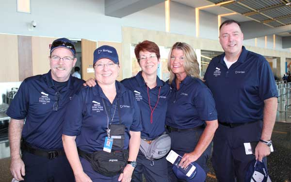 Scripps Health Medical Response Team members (left to right) Tim Collins; Patty Skoglund, RN; Debra McQuillen, RN; Jan Zachry, RN; and Steve Miller, RN; in San Diego International Airport on May 1 just before leaving for a three-week mission to Nepal. (Photo credit: Scripps Health) View high-resolution image