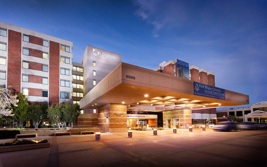 Evening shot of Scripps Memorial Hospital La Jolla