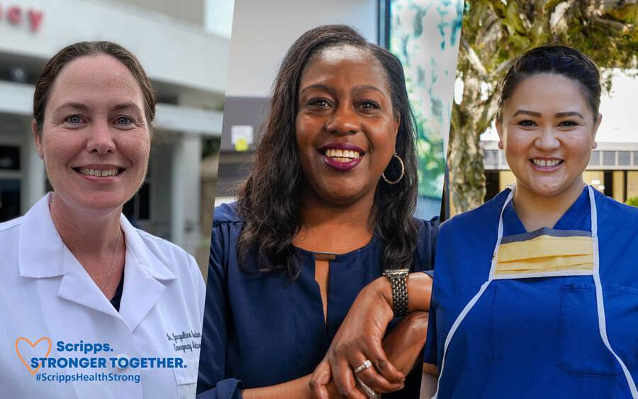 Three women who work for Scripps Health standing strong together during the COVID-19 pandemic.