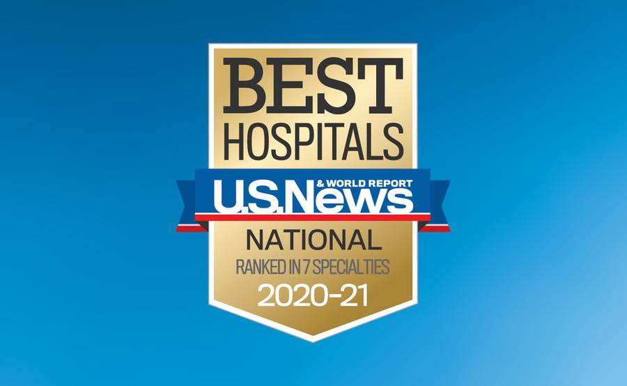 The badge for U.S. News & World Report Best Hospitals 2020-2021, when Scripps Health was nationally ranked in 7 specialties.