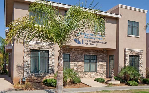 The exterior of Scripps Well Being Center, a health and wellness center near the corner of Church Avenue and Davidson Street in Chula Vista.