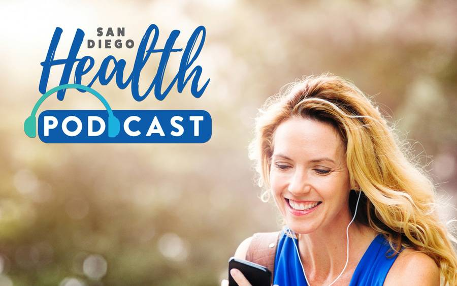 A smiling woman pausing from exercise pictured in San Diego Health podcast cover.