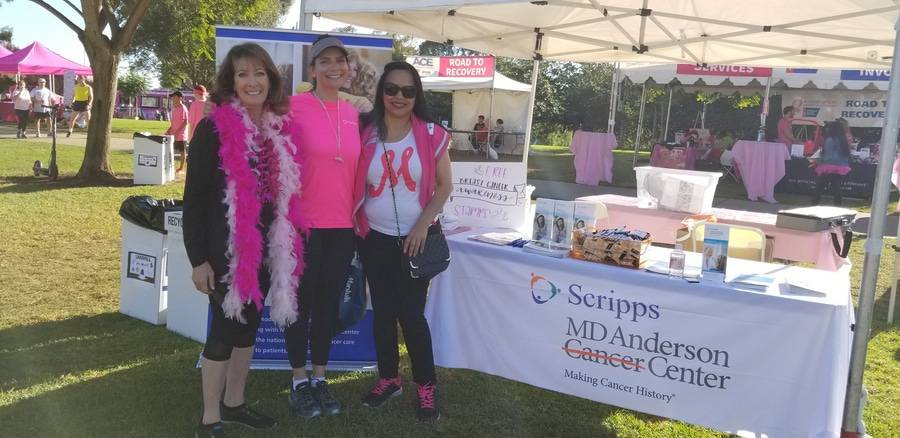 Susan Taylor, Scripps Health, Sonia Ali, MD, Scripps MD Anderson Cancer Center, unidentified supporter, at Making Strides Walk.