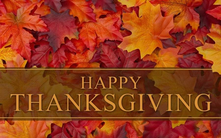 Happy Thanksgiving text over fall leaves represents a moment to be thankful, a message for Scripps employees in the CEO blog.