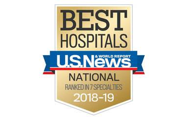 The 2018-2019 US News & World Report Badge shows Scripps was ranked nationally in seven clinical specialties.