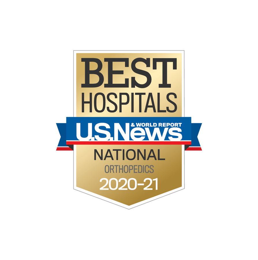 The badge for U.S. News & World Report Best Hospitals 2020-2021 when Scripps Health was nationally ranked for orthopedics