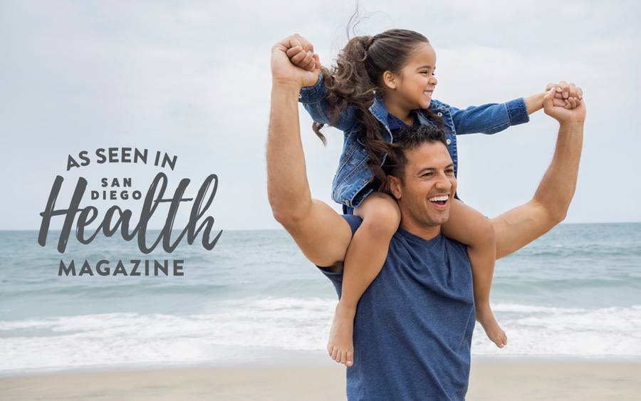 Happy and healthy dad, represents a patient who takes advantage of the diagnostic and treatment options available at Scripps to treat common men's health issues.