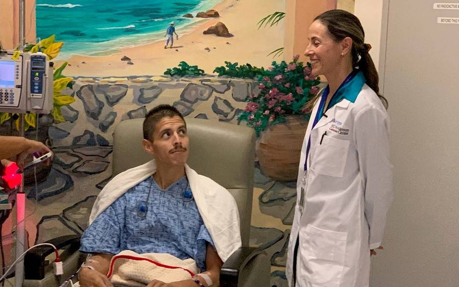 Marin Xavier, MD, and cancer patient William Apodaca at Scripps Mercy hospital