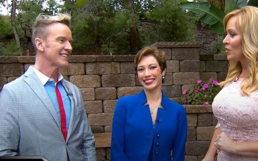 From left, cancer patient Steve Valentine, Irene Hutchins, MD, KUSI anchor Ginger Jeffries