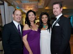 Scripps Mercy Hospital chief executive Tom Gammiere and his wife, Karen, celebrate the 41st Annual Mercy Ball, Experience Paradise, held April 9, 2011, with event chairs Linda and Chris Townson.